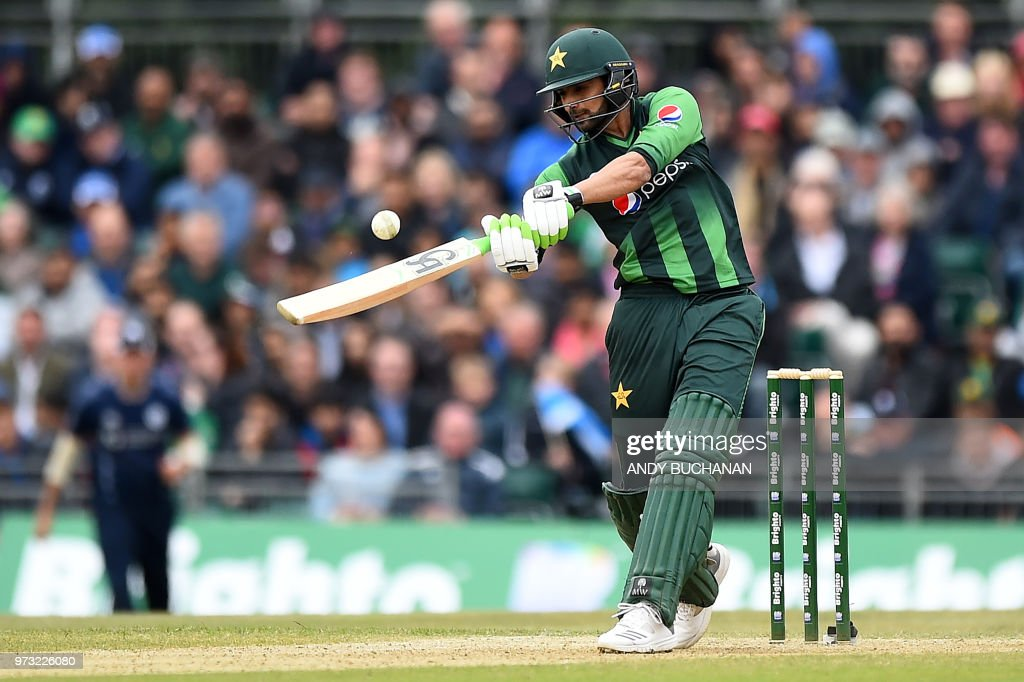 Pakistan's Shoaib Malik plays a shot for six runs during the second Twenty20 International cricket match between Scotland and Pakistan at the Grange Cricket Club in Edinburgh, Scotland, on June 13, 2018.