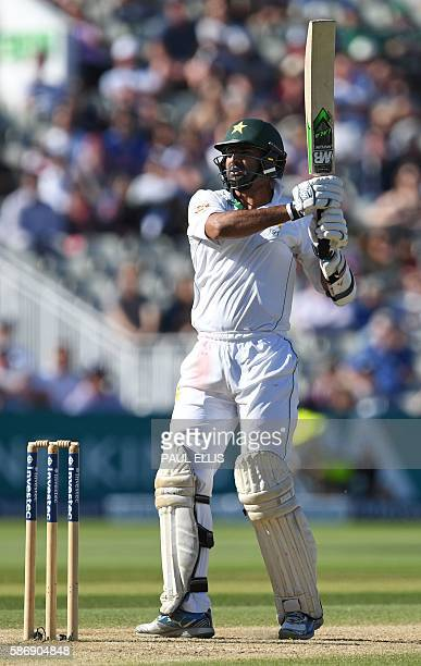 Pakistan's Sohail Khan plays a shot as he makes a last wicket stand with Pakistan's Rahat Ali during play on the final day of the third test cricket...