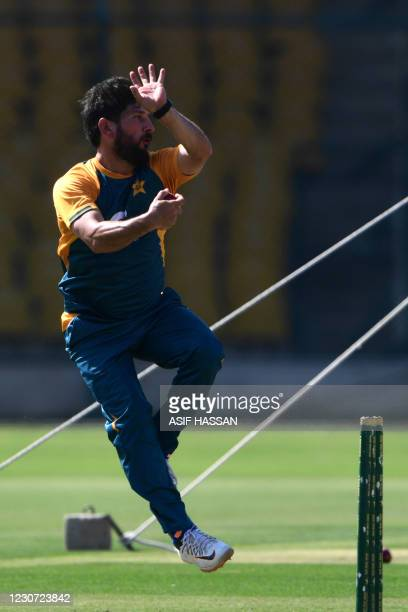 Pakistan's Yasir Shah attends a practice session at the National Stadiumin Karachi on January 22 ahead of their first cricket test match against...