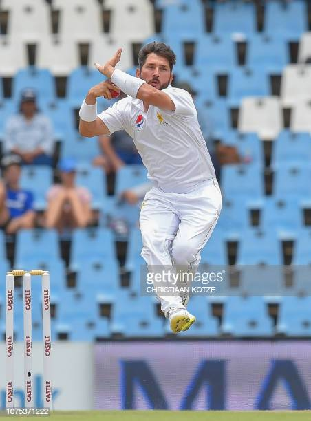 Pakistan's Yasir Shah bowls during day three of the 1st cricket test match between South Africa and Pakistan at SuperSport Park cricket stadium on...