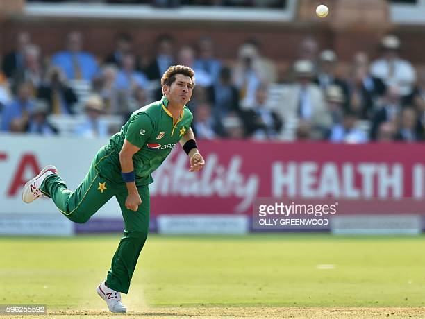 Pakistan's Yasir Shah bowls during play in the second one day international cricket match between England and Pakistan at Lord's cricket ground in...