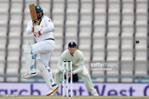 Pakistan's Yasir Shah hits a boundary on the third day of the third Test cricket match between England and Pakistan at the Ageas Bowl in Southampton,...