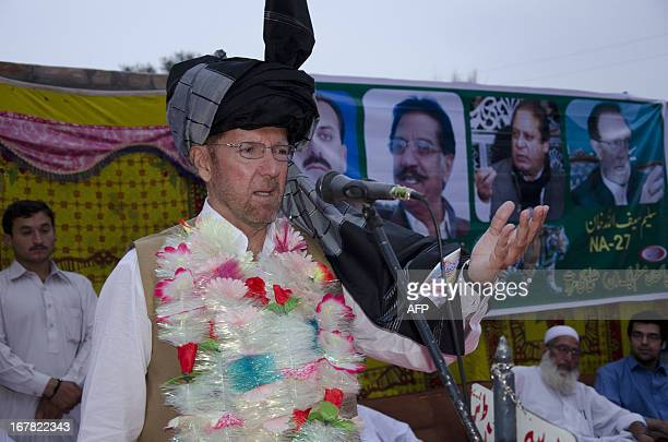 PakistanunrestvotecampaignFOCUS by Damon Wake In this photograph taken on April 23 Salim Saifullah Khan the candidate for the national assembly for...