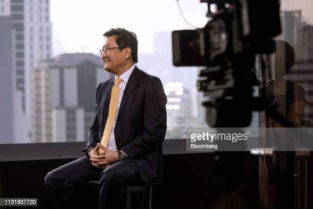 Pakorn Peetathawatchai president of the Stock Exchange of Thailand speaks during a Bloomberg Television interview in Bangkok Thailand on Friday March...