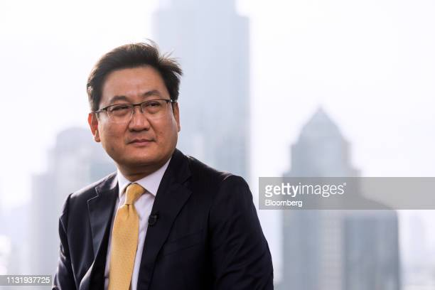 Pakorn Peetathawatchai president of the Stock Exchange of Thailand sits during a Bloomberg Television interview in Bangkok Thailand on Friday March...