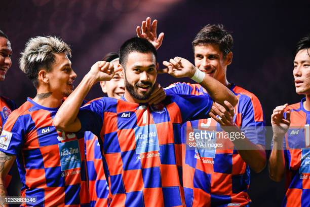 Pakorn Prempak of Port FC celebrates a goal with his teammates during the AFC Champions League 2021 Group J match between Port FC and Kitchee SC at...