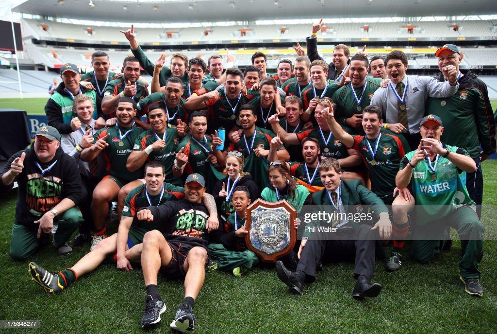 Pakuranga celebrate following the Gallaher Shield Final match between Pakuranga and University at Eden Park on August 3, 2013 in Auckland, New Zealand.