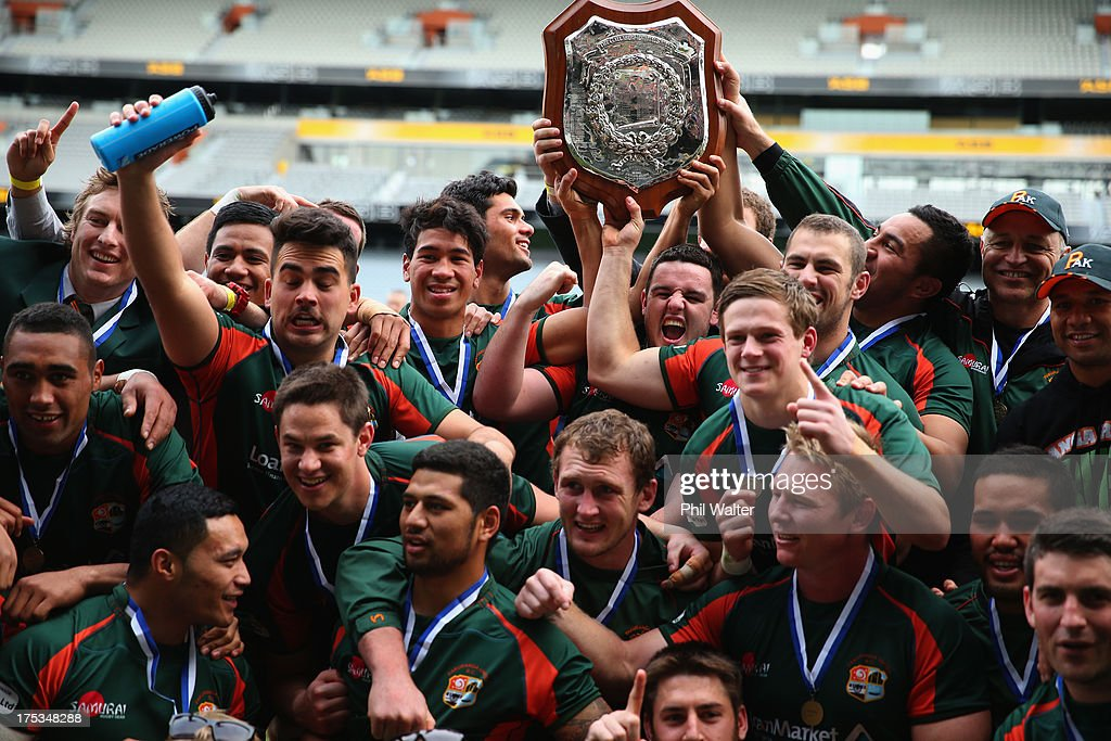 Pakuranga celebrate following the Gallaher Shield Final match between Pakuranga and University at Eden Park on August 3, 2013 in Auckland, New Zealand.