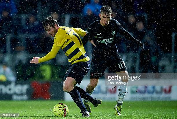 Pal Alexander Kirkevold of Hobro IK and Erik Marxen of Randers FC compete for the ball during the Danish Alka Superliga match between Hobro IK and...