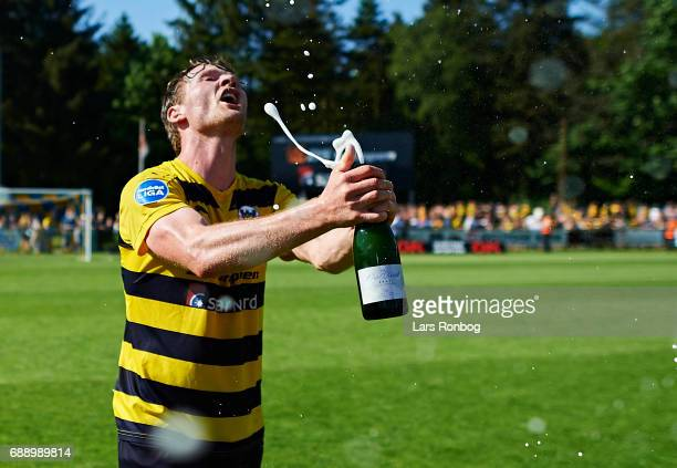 Pal Alexander Kirkevold of Hobro IK celebrate winning the match and the NordicBet LIGA with promotion to the Alka Superliga after the Danish...