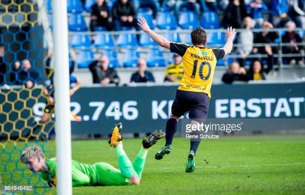Pal Alexander Kirkevold of Hobro IK celebrates after the 10 goal during the Danish Alka Superliga match between Hobro IK and FC Nordsjalland at DS...