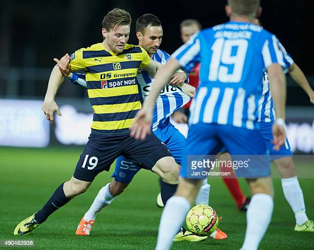 Pal Alexander Kirkevold of Hobro IK compete for the ball during the Danish Alka Superliga match between Hobro IK and Esbjerg fB at DS Arena on...