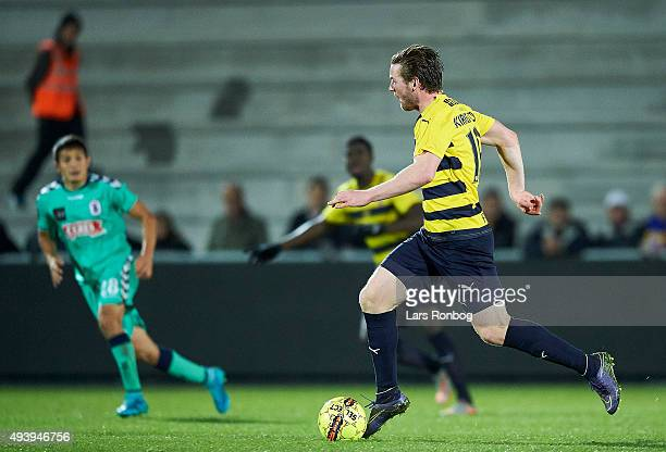Pal Alexander Kirkevold of Hobro IK controls the ball during the Danish Alka Superliga match between Hobro IK and AGF Aarhus at DS Arena on October...