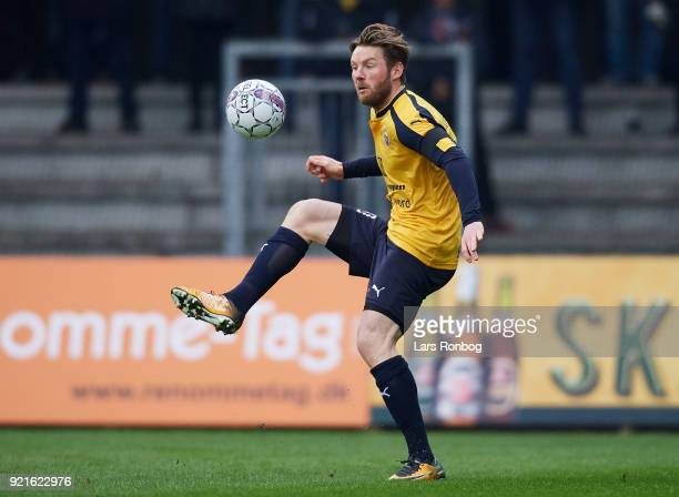 Pal Alexander Kirkevold of Hobro IK controls the ball during the Danish Alka Superliga match between Randers FC and Hobro IK at BioNutria Park on...