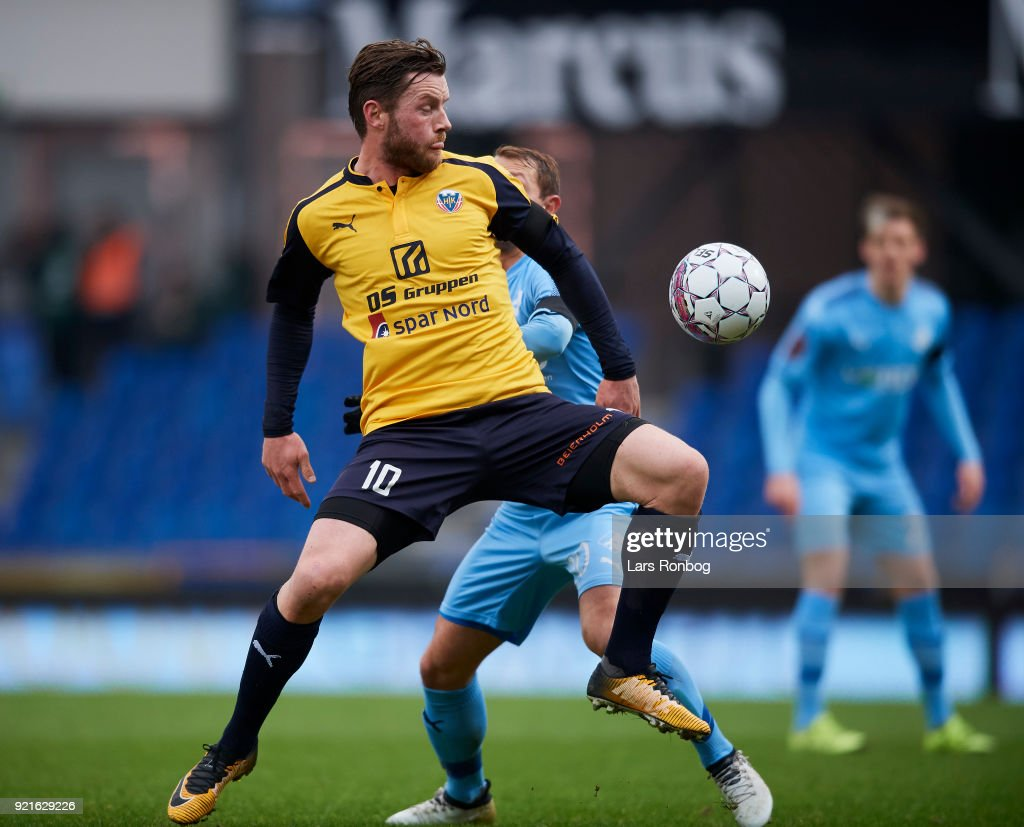 Pal Alexander Kirkevold of Hobro IK in action during the Danish Alka Superliga match between Randers FC and Hobro IK at BioNutria Park on February 18, 2018 in Randers, Denmark.