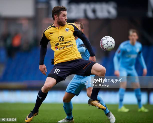 Pal Alexander Kirkevold of Hobro IK in action during the Danish Alka Superliga match between Randers FC and Hobro IK at BioNutria Park on February 18...