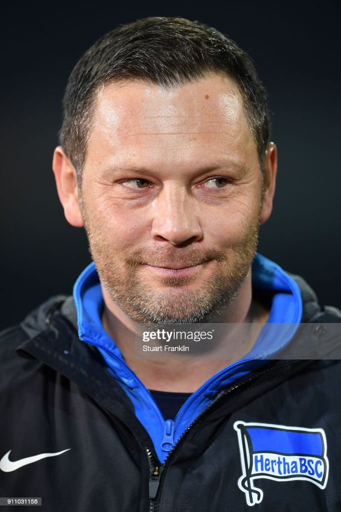 Pal Dardai, coach of Berlin, looks on before the Bundesliga match between SV Werder Bremen and Hertha BSC at Weserstadion on January 27, 2018 in Bremen, Germany.