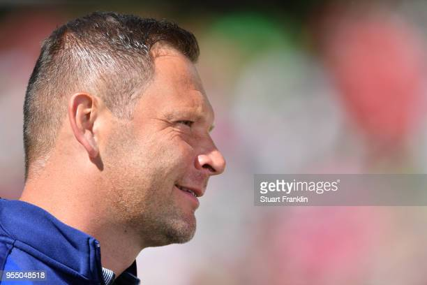 Pal Dardai head coach of Berlin looks on during the Bundesliga match between Hannover 96 and Hertha BSC at HDIArena on May 5 2018 in Hanover Germany