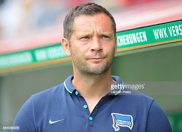 Pal Dardai head coach of Hertha BSC looks on prior to the Bundesliga match between FC Augsburg and Hertha BSC at WWKArena on August 15 2015 in...