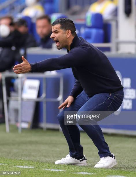 Pal Dardai, Head Coach of Hertha BSC reacts during the Bundesliga match between FC Schalke 04 and Hertha BSC at Veltins-Arena on May 12, 2021 in...