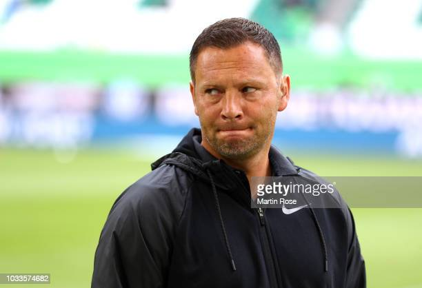 Pal Dardai Manager of Hertha BSC arrives ahead of during the Bundesliga match between VfL Wolfsburg and Hertha BSC at Volkswagen Arena on September...