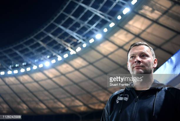 Pal Dardai Manager of Hertha BSC looks on prior to the Bundesliga match between Hertha BSC and SV Werder Bremen at Olympiastadion on February 16 2019...