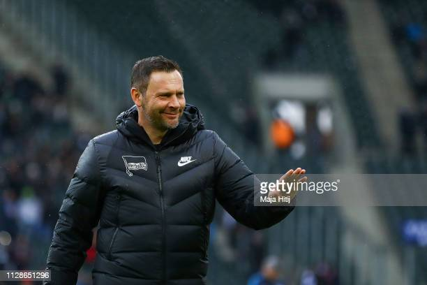 Pal Dardai Manager of Hertha BSC looks on prior to the Bundesliga match between Borussia Moenchengladbach and Hertha BSC at BorussiaPark on February...