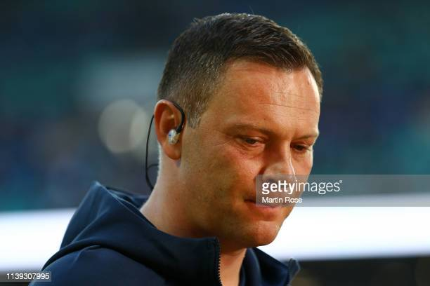 Pal Dardai Manager of Hertha BSC looks on prior to the Bundesliga match between RB Leipzig and Hertha BSC at Red Bull Arena on March 30 2019 in...