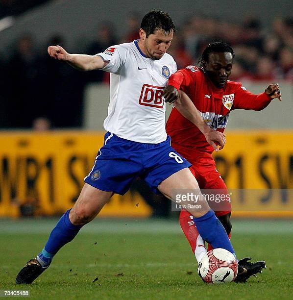 Pal Dardai of Berlin in action with Arthur Boka of Stuttgart during the Bundesliga match between VFB Stuttgart and Hertha BSC Berlin at the Gottlieb...
