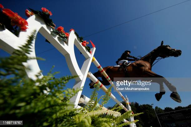 Pal Flam of Norway riding Skjerabergs Larkin competes during Day 4 of the Longines FEI Jumping European Championship 2nd part, team Jumping 1st round...