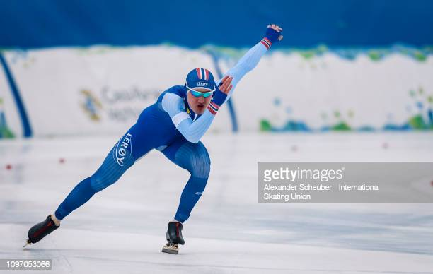 Pal Myhren Kristensen of Norway competes in the Mens 500m sprint race during the ISU Junior World Cup Speed Skating Final Day 2 on February 9 2019 in...