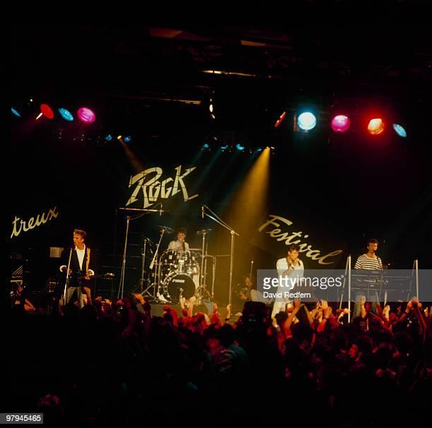 Pal Waaktaar Morten Harket and Magne Furuholmen of Norwegian group Aha perform on stage at the Montreux Rock Festival held in Montreux Switzerland in...
