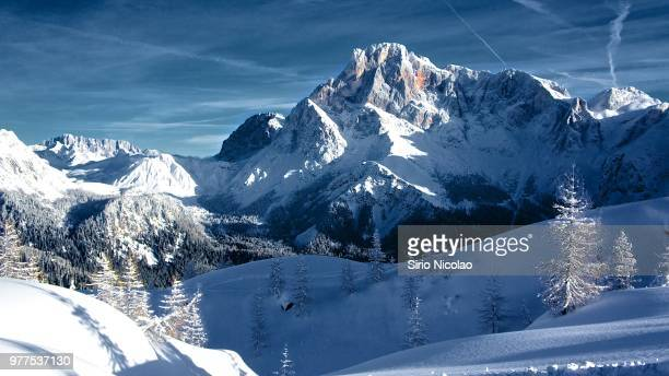 pala di san martino peak in winter, san martino di castrozza, trentino-alto adige, italy - dolomiti foto e immagini stock
