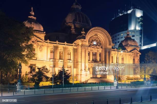 cec palace at night - bukarest bildbanksfoton och bilder