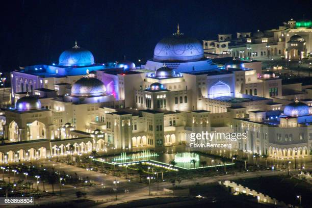 palace at nighttime, abu dhabi - presidential palace stock pictures, royalty-free photos & images