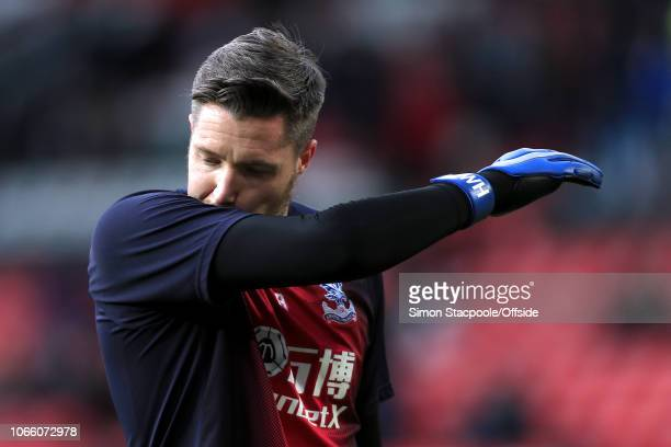 Palace goalkeeper Wayne Hennessey looks dejected during the warmup ahead of the Premier League match between Manchester United and Crystal Palace at...