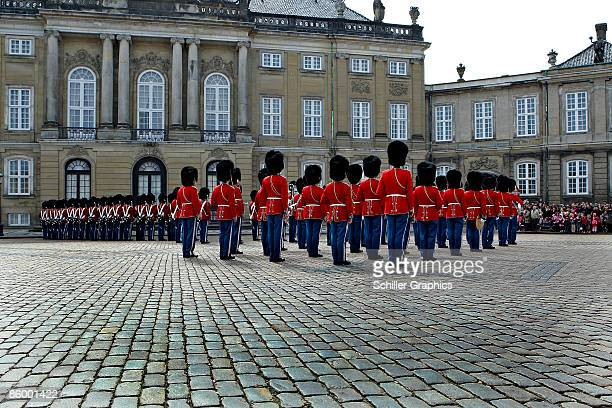 Palace guards march during celebrations to mark Queen Margrethe II of Denmark's 69th birthday at Christian IX�s Palace Amalienborg on April 16 2009...