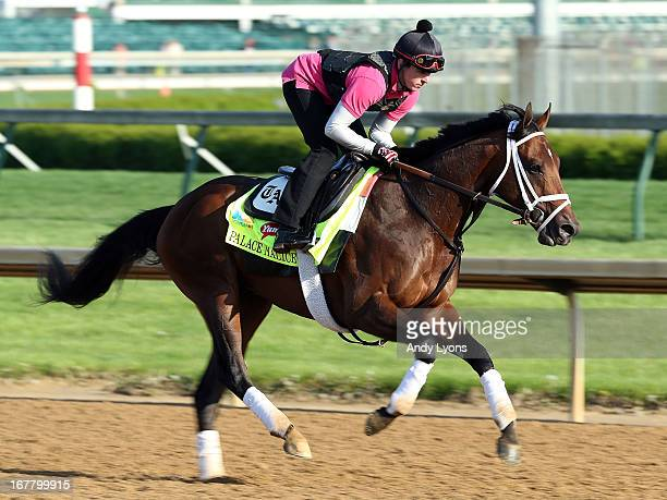 Palace Malice trained by Todd Pletcher runs on the track during morning training in preperation for the 2013 Kentucky Derby at Churchill Downs on...