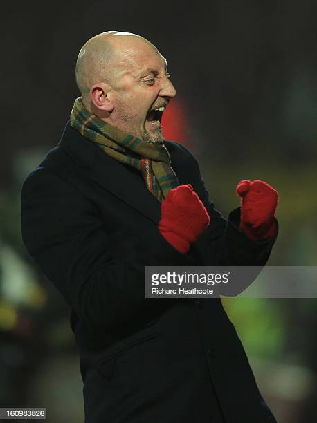 Palace manager Ian Holloway celebrates the equaliser during the npower Championship match between Watford and Crystal Palace at Vicarage Road on...
