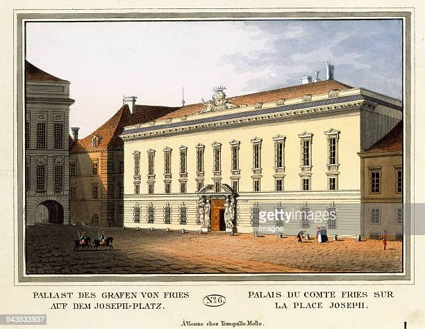 Palace of Count Fries on the JosephPlace [Palais Pallavicini] 1825 Coloured etching Journal No 6 from >Wiens vorzüglichste Gebäude und Monumente Les...