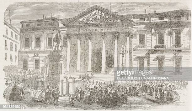 Palace of Courts seat of the Congress of Deputies Madrid Spain illustration from Il Giornale Illustrato Year 2 No 23 June 1016 1865