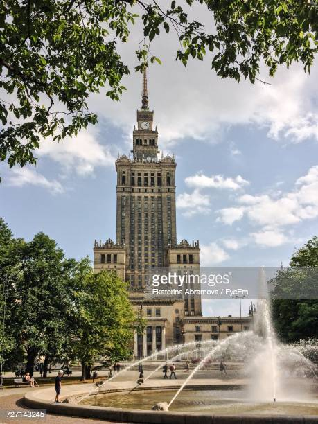 Palace Of Culture And Science Against Cloudy Sky
