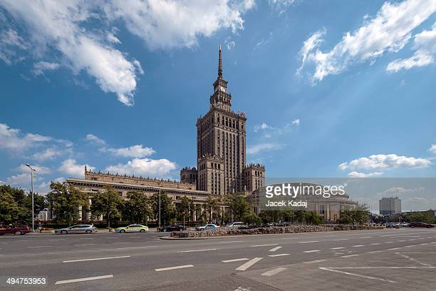 palace of culture and science in warsaw - clock tower stock pictures, royalty-free photos & images