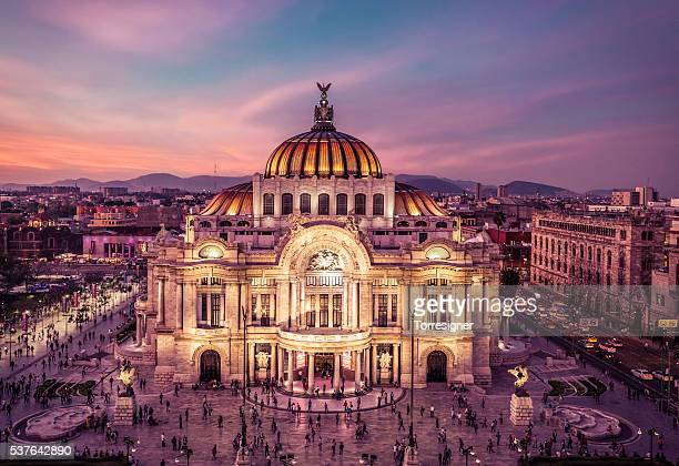 palace of fine arts, night panoramic view - mexico city stock pictures, royalty-free photos & images