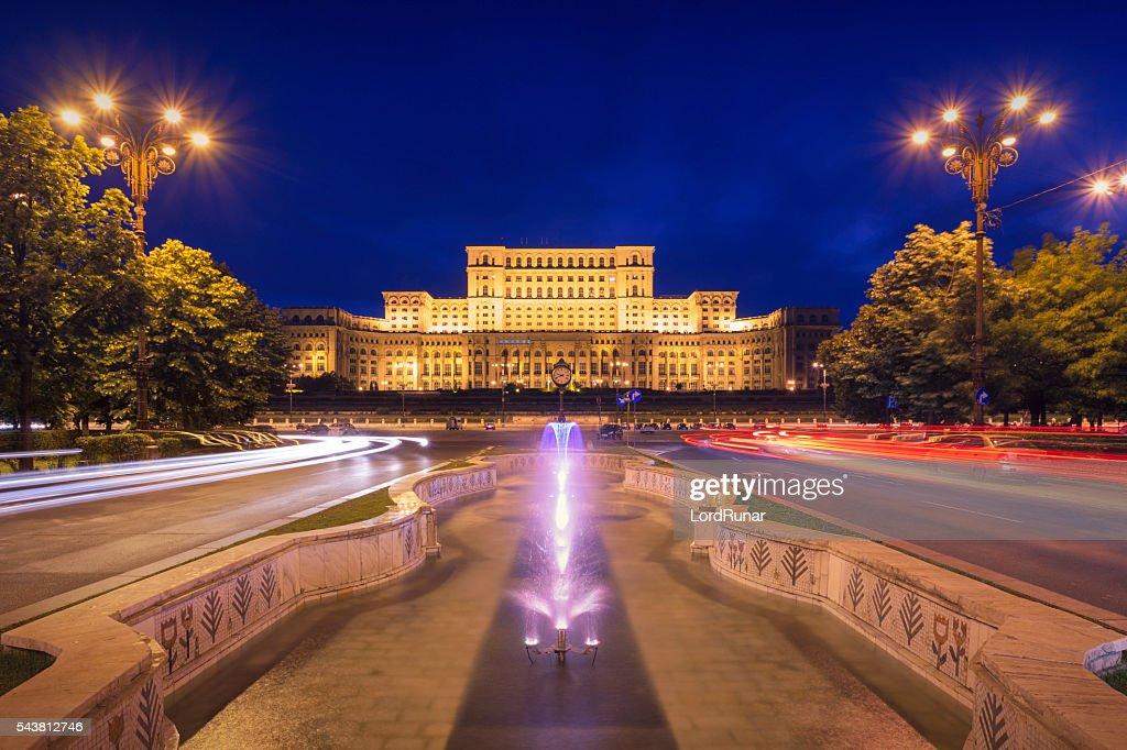Palace of Parliament at night : Stock Photo