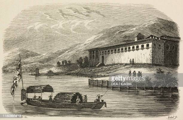 Palace of Tassisudon , Thimphu, Buthan, engraving by Lisbet from a drawing by Breton, from Monumenti piu ragguardevoli di tutti i popoli , Volume I,...