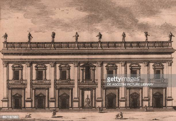 Palace of the Conservatives Capitoline Hill Rome Lazio Italy copper engraving ca 155x135 cm from Les delices de l'Italie qui contiennent une...
