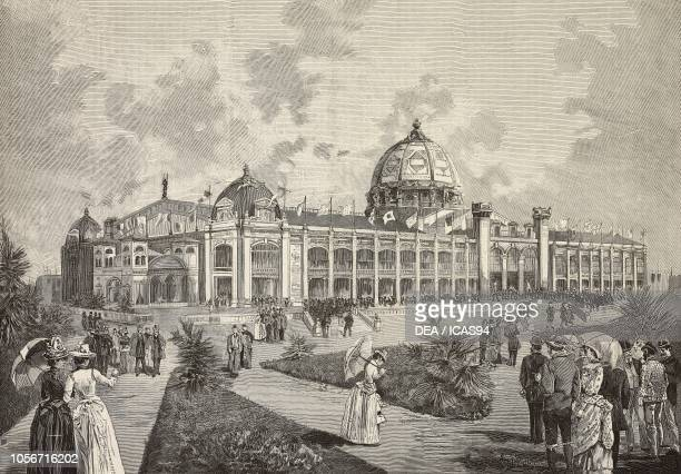 Palace of the Fine Arts at the Universal Exposition of 1889 Paris France engraving from a drawing by Empedocle Ximenes from L'Illustrazione Italiana...