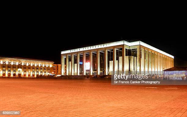 Palace of the Republic in Minsk illuminated at night, Belarus