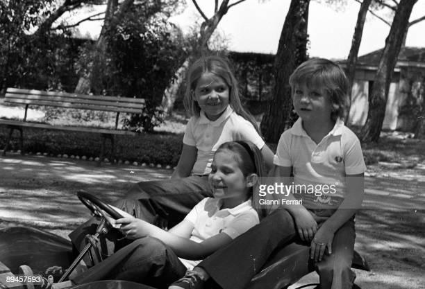 1973 Palace of the Zarzuela Madrid Spain Elena Felipe and Cristina Kings of Spain's childrens